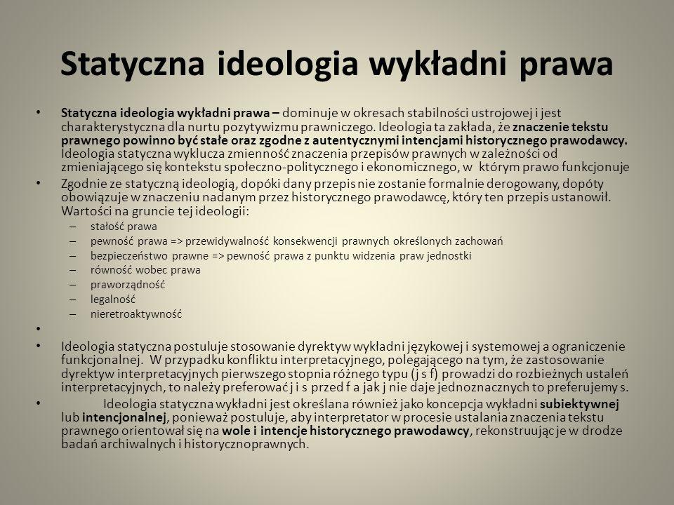 Statyczna ideologia wykładni prawa