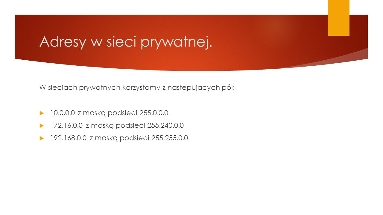 Adresy w sieci prywatnej.