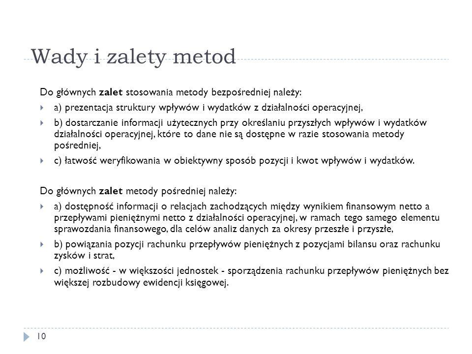 Wady i zalety metod Do głównych zalet stosowania metody bezpośredniej należy: