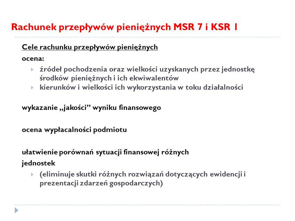 Rachunek przepływów pieniężnych MSR 7 i KSR 1