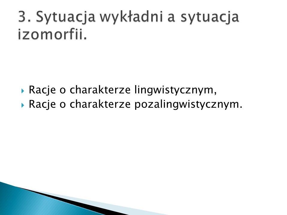 3. Sytuacja wykładni a sytuacja izomorfii.