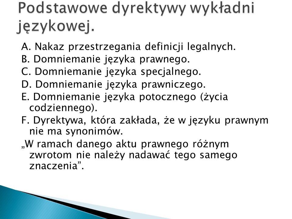 Podstawowe dyrektywy wykładni językowej.