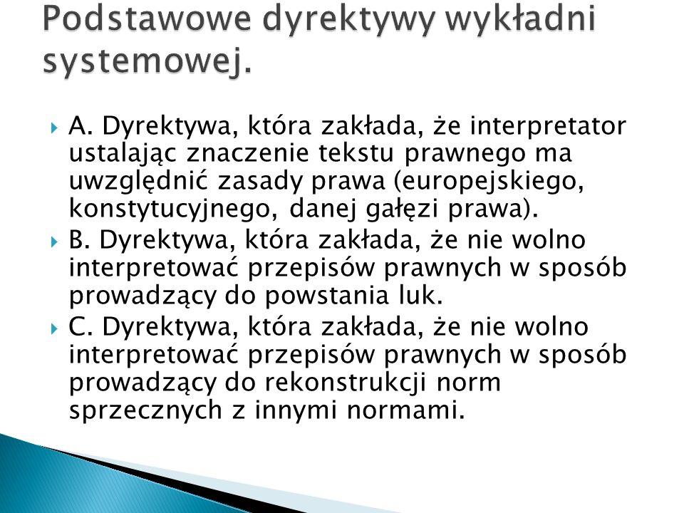 Podstawowe dyrektywy wykładni systemowej.