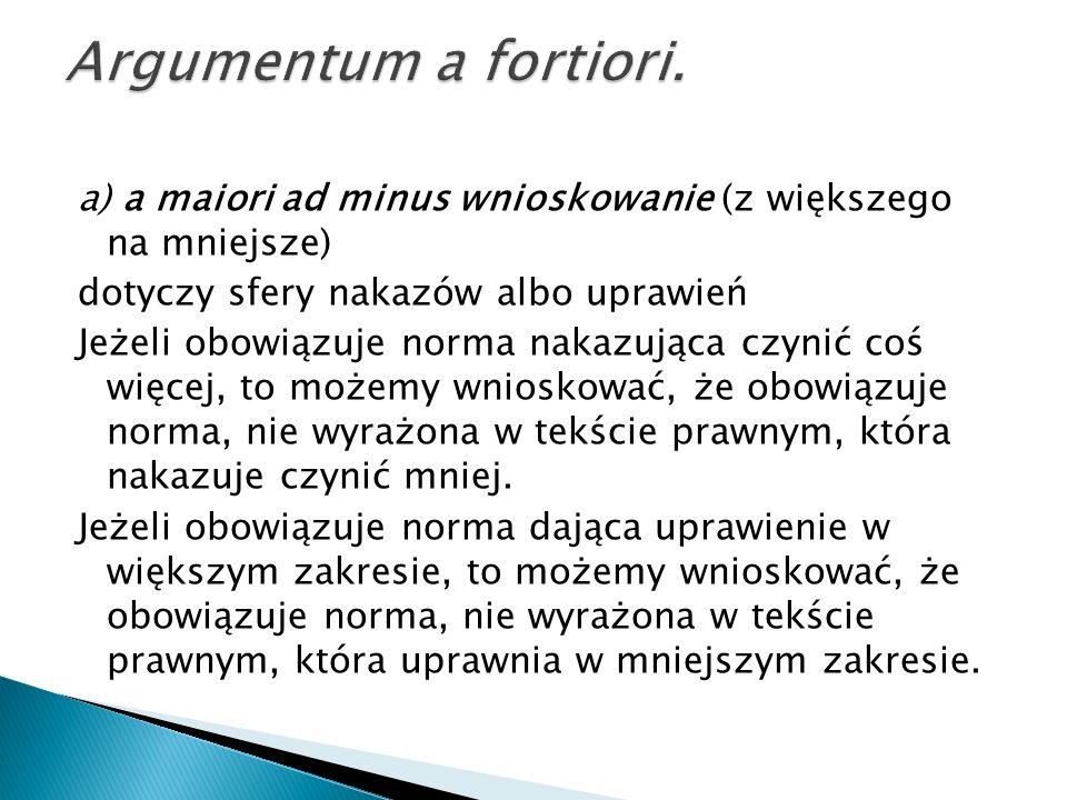 Argumentum a fortiori. a) a maiori ad minus wnioskowanie (z większego na mniejsze) dotyczy sfery nakazów albo uprawień.