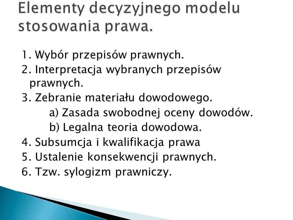 Elementy decyzyjnego modelu stosowania prawa.