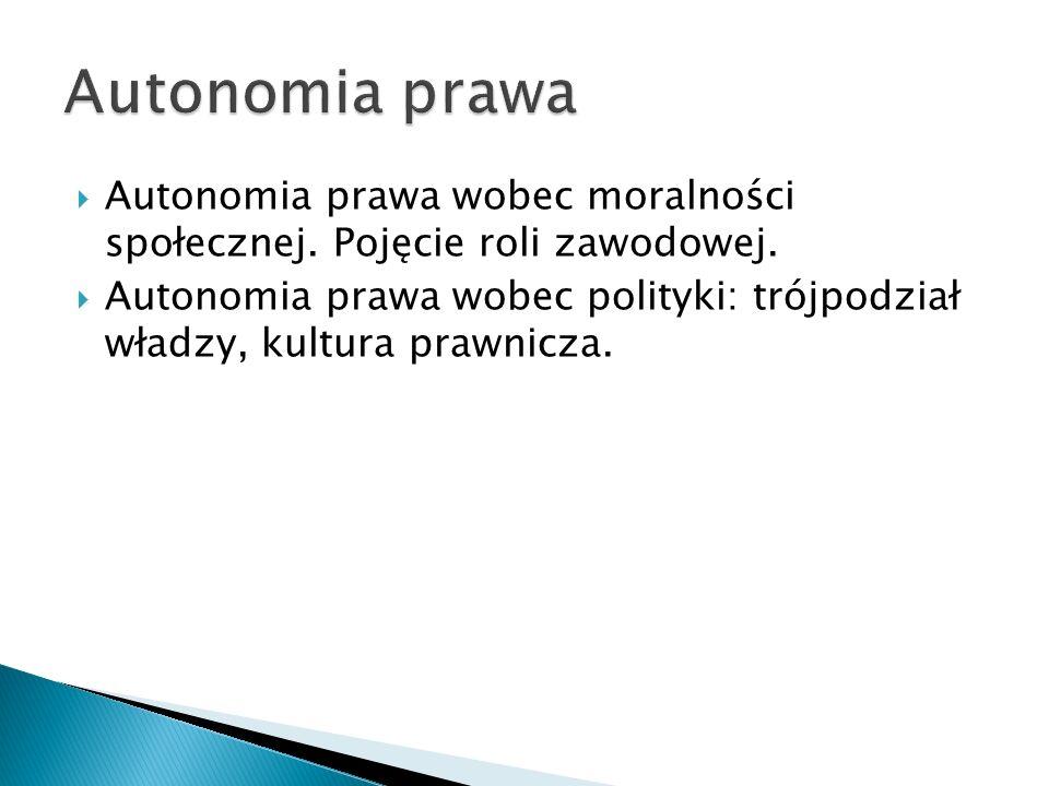 Autonomia prawa Autonomia prawa wobec moralności społecznej. Pojęcie roli zawodowej.