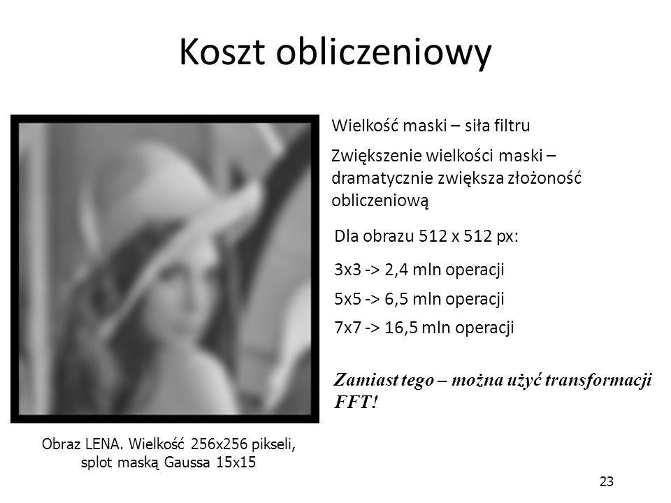 Obraz LENA. Wielkość 256x256 pikseli, splot maską Gaussa 15x15