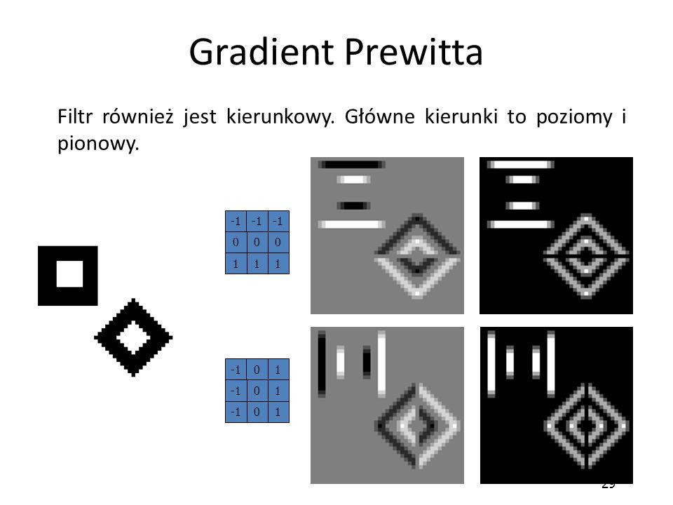 Gradient Prewitta Filtr również jest kierunkowy. Główne kierunki to poziomy i pionowy. -1 1 -1 1 29