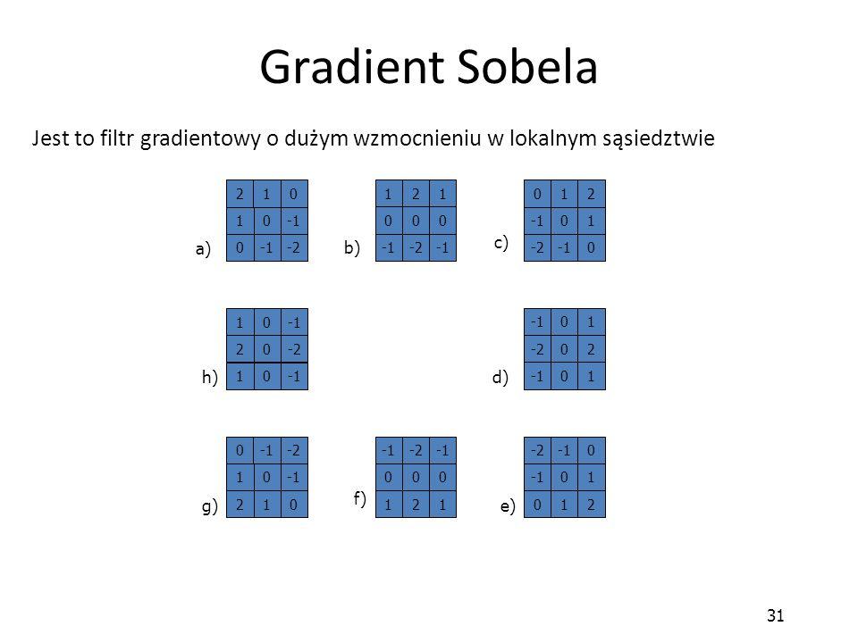 Gradient Sobela Jest to filtr gradientowy o dużym wzmocnieniu w lokalnym sąsiedztwie. 2. 1. -1. -2.