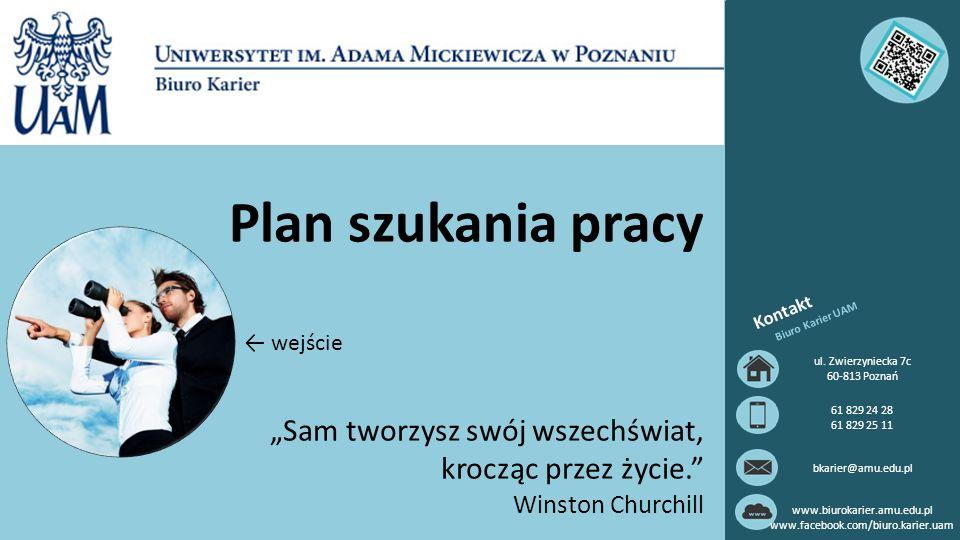Plan szukania pracy Kontakt. Biuro Karier UAM. ← wejście. ul. Zwierzyniecka 7c. 60-813 Poznań. 61 829 24 28.