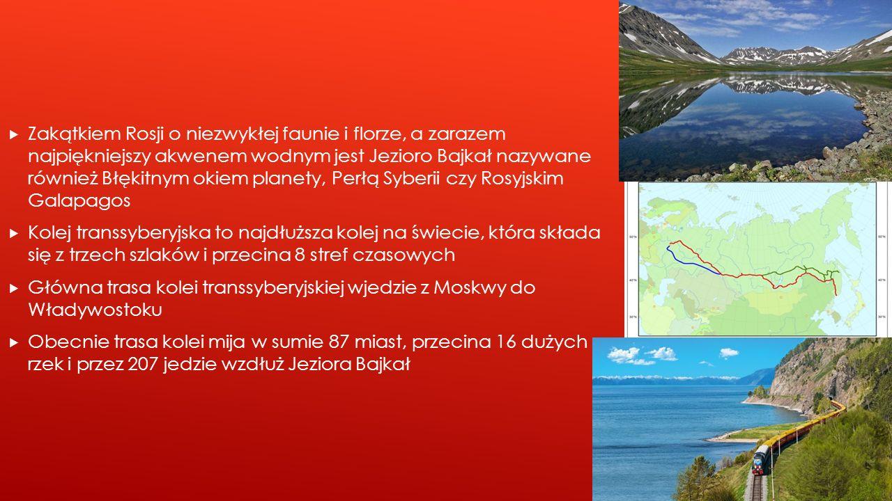 Zakątkiem Rosji o niezwykłej faunie i florze, a zarazem najpiękniejszy akwenem wodnym jest Jezioro Bajkał nazywane również Błękitnym okiem planety, Perłą Syberii czy Rosyjskim Galapagos