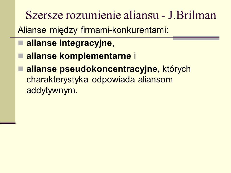 Szersze rozumienie aliansu - J.Brilman