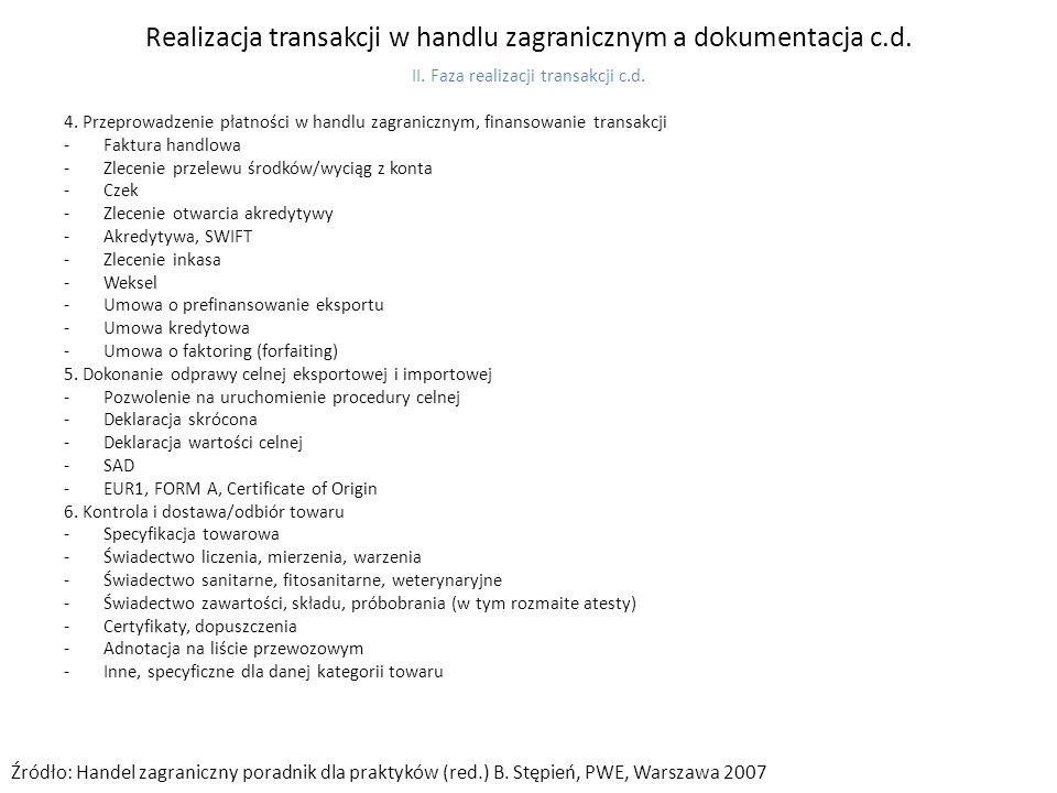 Realizacja transakcji w handlu zagranicznym a dokumentacja c.d.