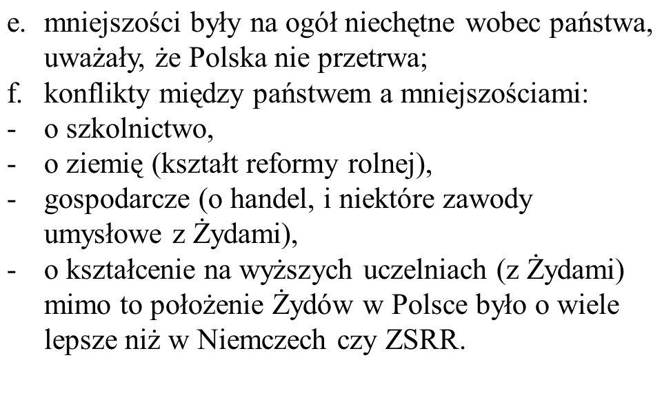 mniejszości były na ogół niechętne wobec państwa, uważały, że Polska nie przetrwa;