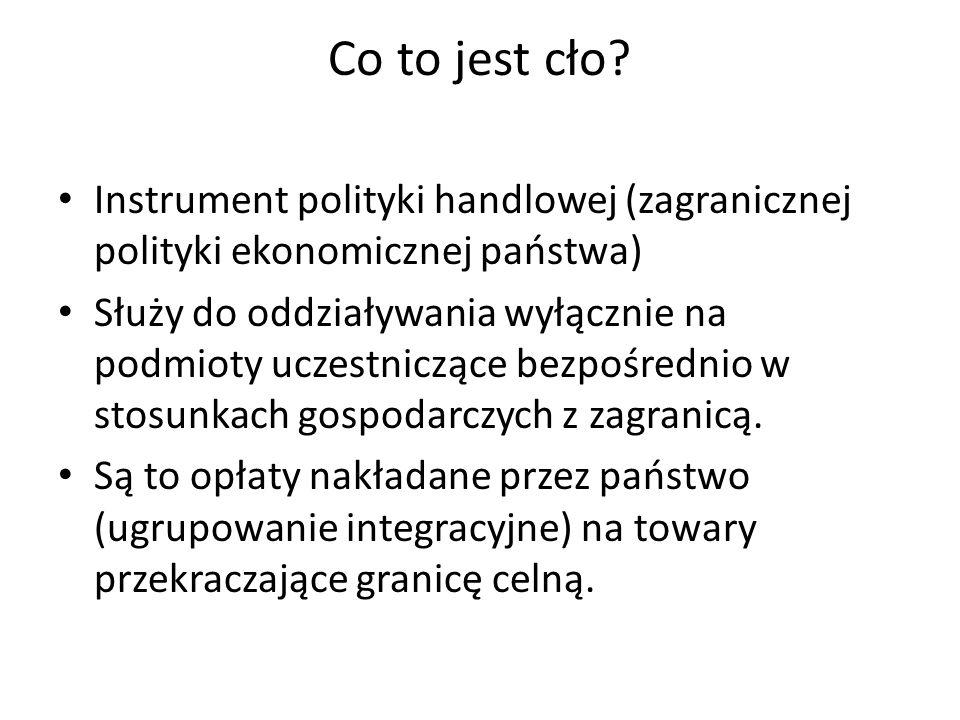 Co to jest cło Instrument polityki handlowej (zagranicznej polityki ekonomicznej państwa)