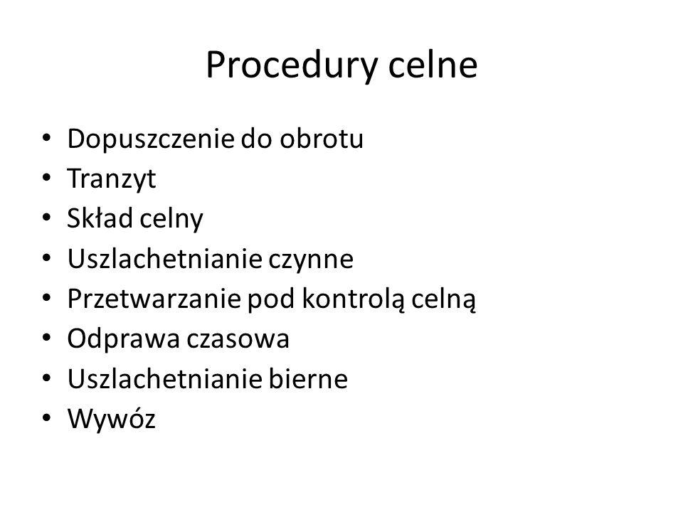 Procedury celne Dopuszczenie do obrotu Tranzyt Skład celny