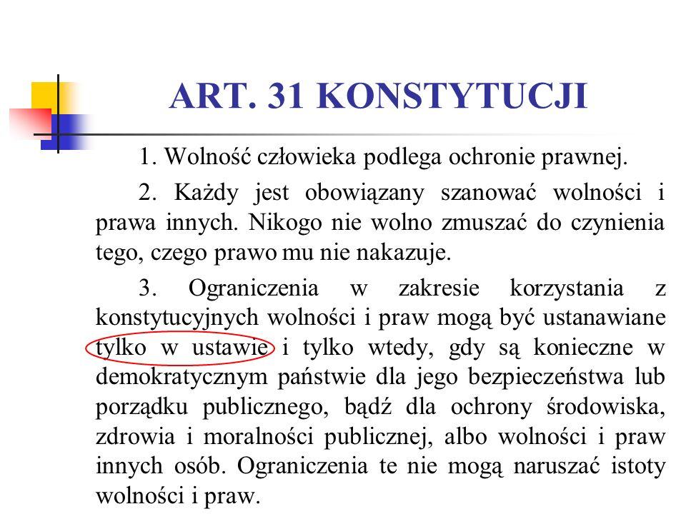 ART. 31 KONSTYTUCJI 1. Wolność człowieka podlega ochronie prawnej.