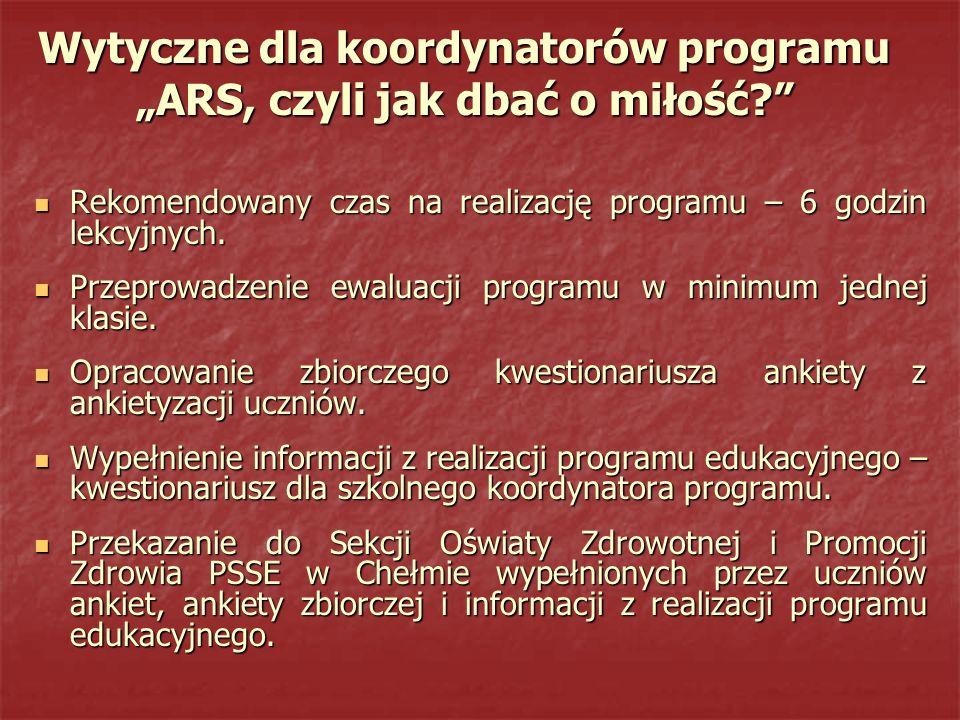 """Wytyczne dla koordynatorów programu """"ARS, czyli jak dbać o miłość"""