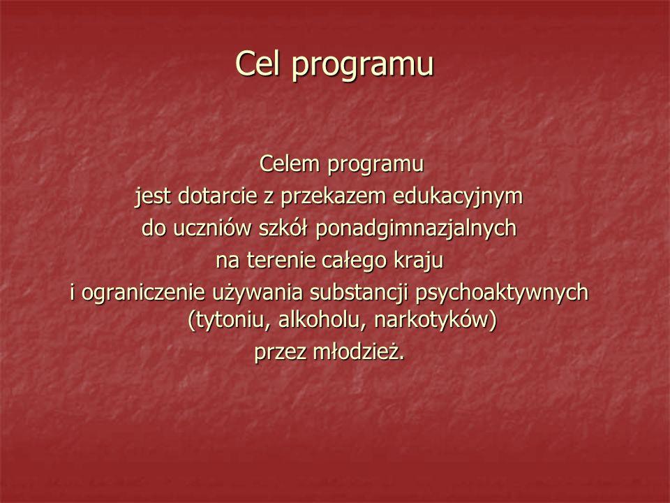 Cel programu Celem programu jest dotarcie z przekazem edukacyjnym