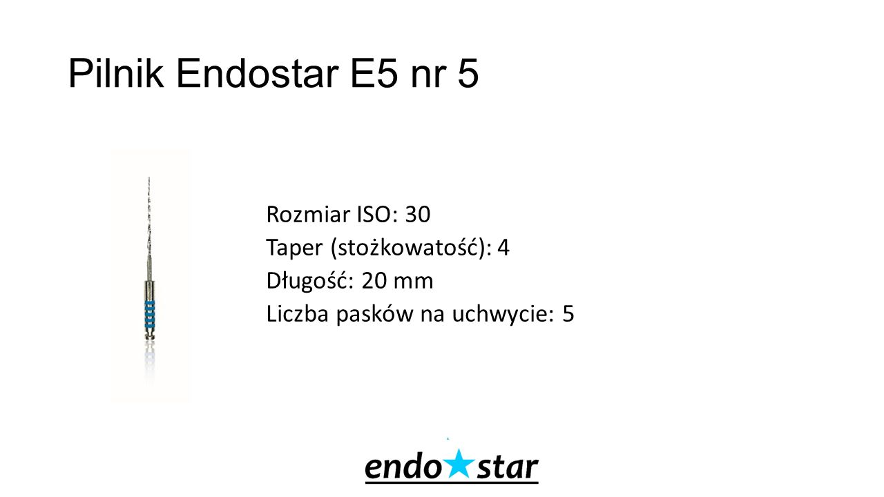 Pilnik Endostar E5 nr 5 Rozmiar ISO: 30 Taper (stożkowatość): 4