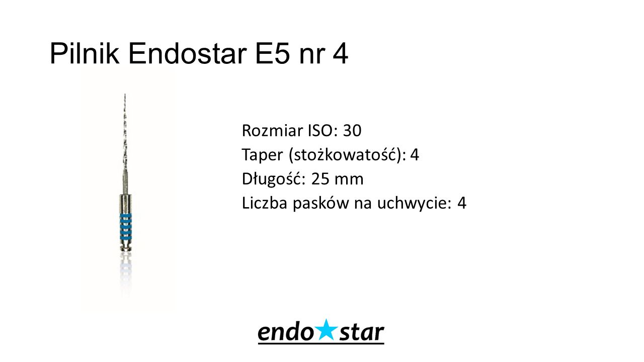 Pilnik Endostar E5 nr 4 Rozmiar ISO: 30 Taper (stożkowatość): 4