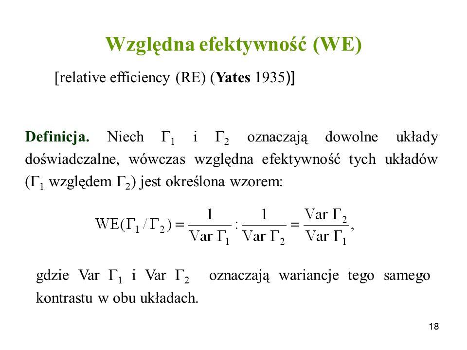 Względna efektywność (WE)