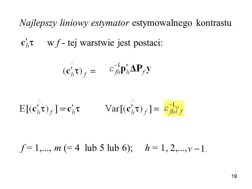 Najlepszy liniowy estymator estymowalnego kontrastu