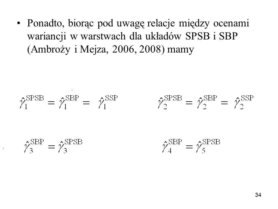 Ponadto, biorąc pod uwagę relacje między ocenami wariancji w warstwach dla układów SPSB i SBP (Ambroży i Mejza, 2006, 2008) mamy