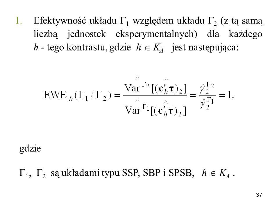 Efektywność układu 1 względem układu 2 (z tą samą liczbą jednostek eksperymentalnych) dla każdego h - tego kontrastu, gdzie h  KA jest następująca: