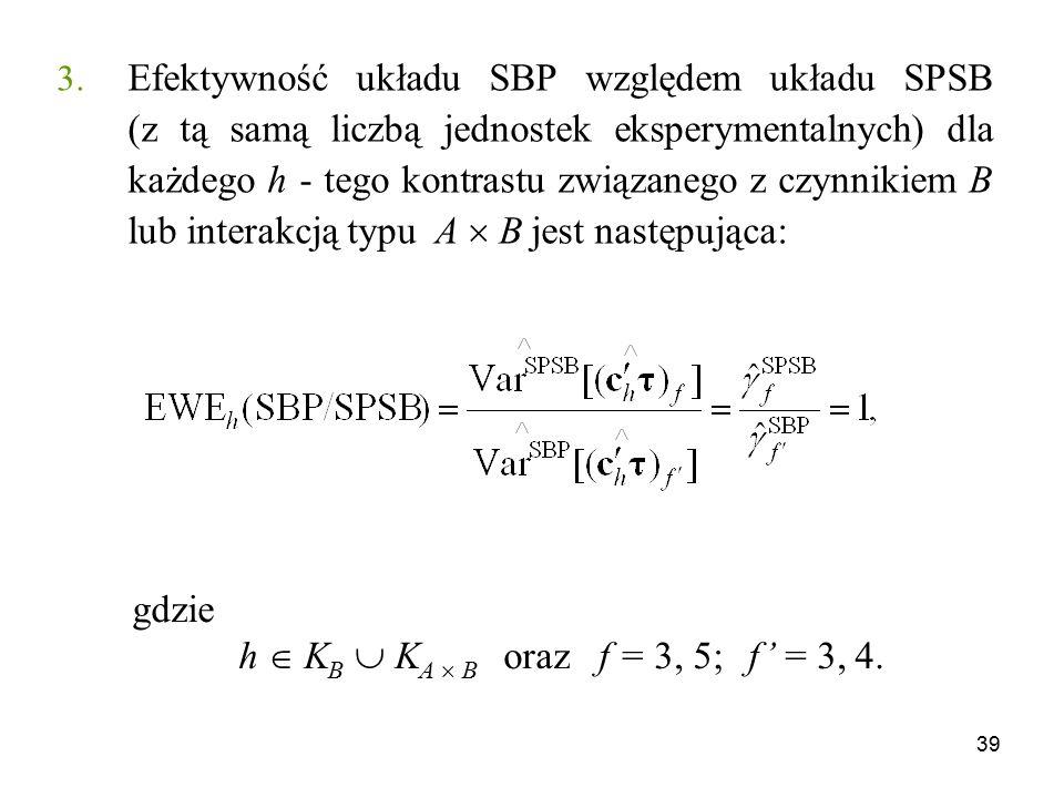 Efektywność układu SBP względem układu SPSB (z tą samą liczbą jednostek eksperymentalnych) dla każdego h - tego kontrastu związanego z czynnikiem B lub interakcją typu A  B jest następująca: