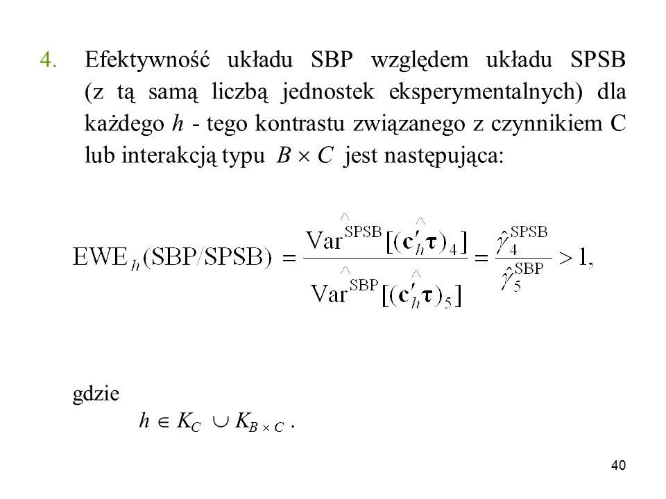 Efektywność układu SBP względem układu SPSB (z tą samą liczbą jednostek eksperymentalnych) dla każdego h - tego kontrastu związanego z czynnikiem C lub interakcją typu B  C jest następująca: