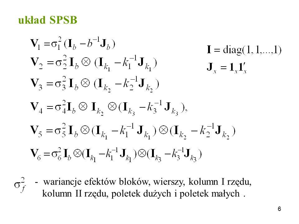 układ SPSB wariancje efektów bloków, wierszy, kolumn I rzędu,