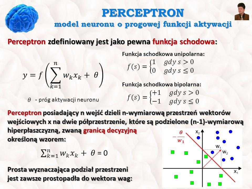 PERCEPTRON model neuronu o progowej funkcji aktywacji