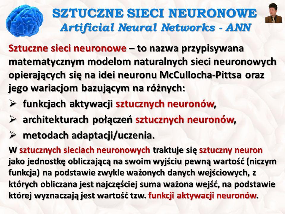SZTUCZNE SIECI NEURONOWE Artificial Neural Networks - ANN