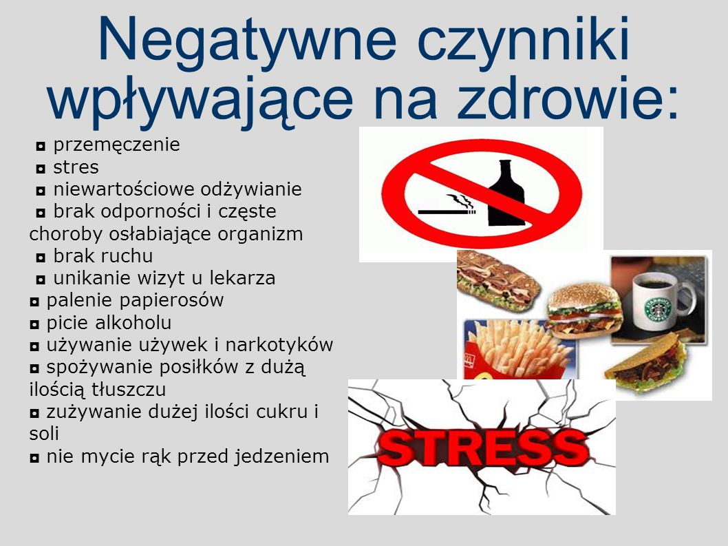 Negatywne czynniki wpływające na zdrowie: