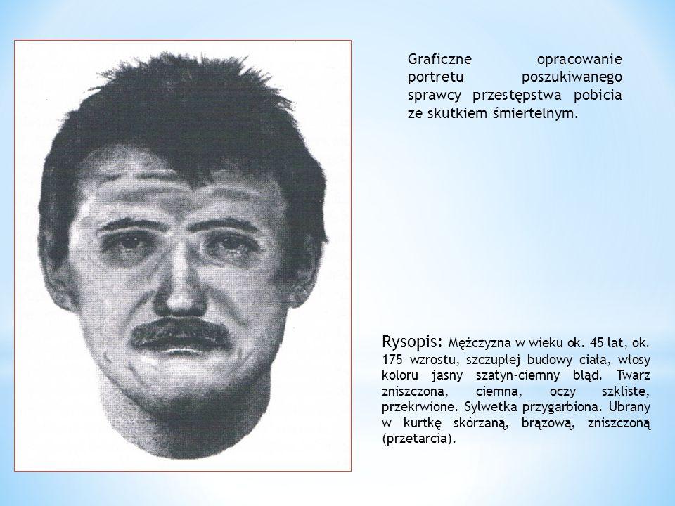 Graficzne opracowanie portretu poszukiwanego sprawcy przestępstwa pobicia ze skutkiem śmiertelnym.