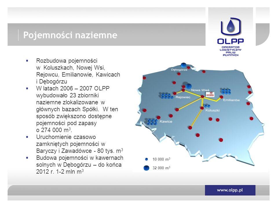 Pojemności naziemne Rozbudowa pojemności w Koluszkach, Nowej Wsi, Rejowcu, Emilianowie, Kawicach i Dębogórzu.