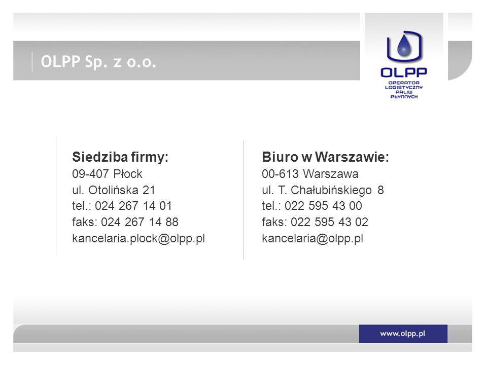 OLPP Sp. z o.o. Siedziba firmy: Biuro w Warszawie: 09-407 Płock