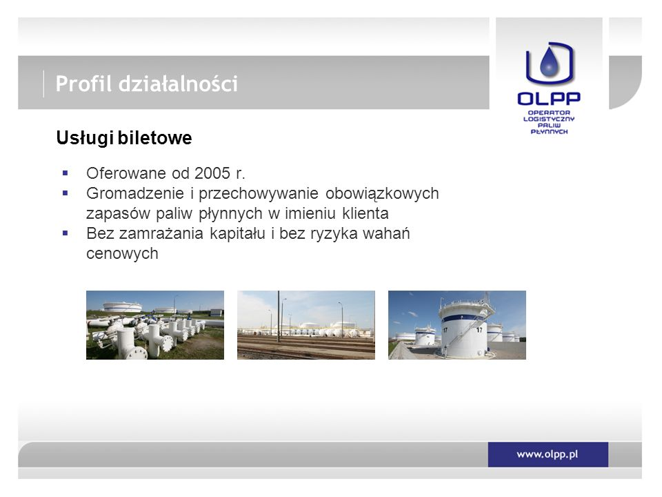 Profil działalności Usługi biletowe Oferowane od 2005 r.