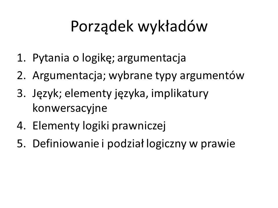 Porządek wykładów Pytania o logikę; argumentacja