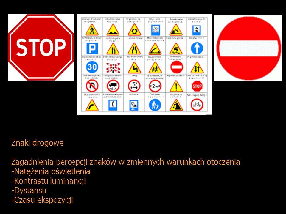 Znaki drogowe Zagadnienia percepcji znaków w zmiennych warunkach otoczenia. Natężenia oświetlenia.