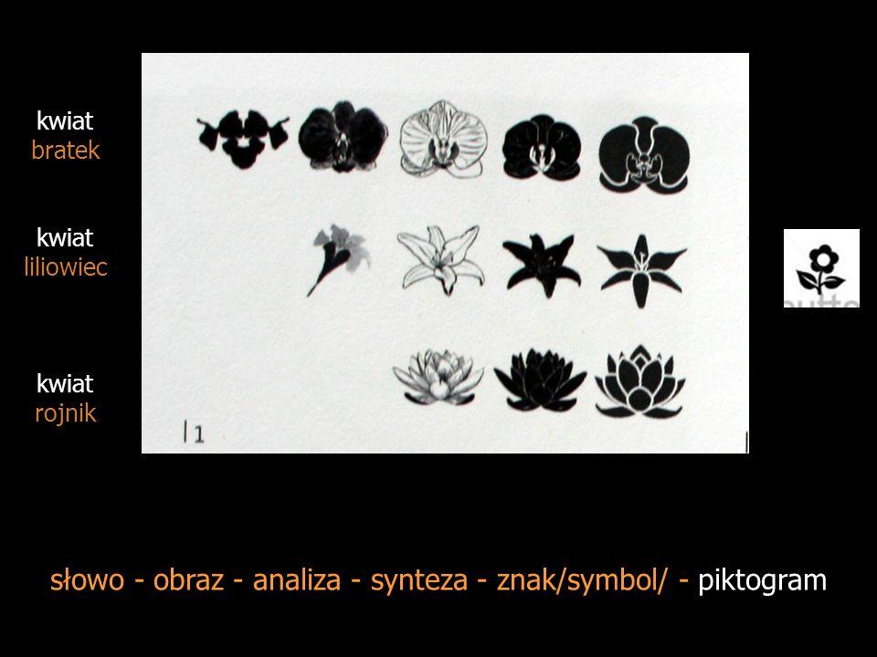 słowo - obraz - analiza - synteza - znak/symbol/ - piktogram