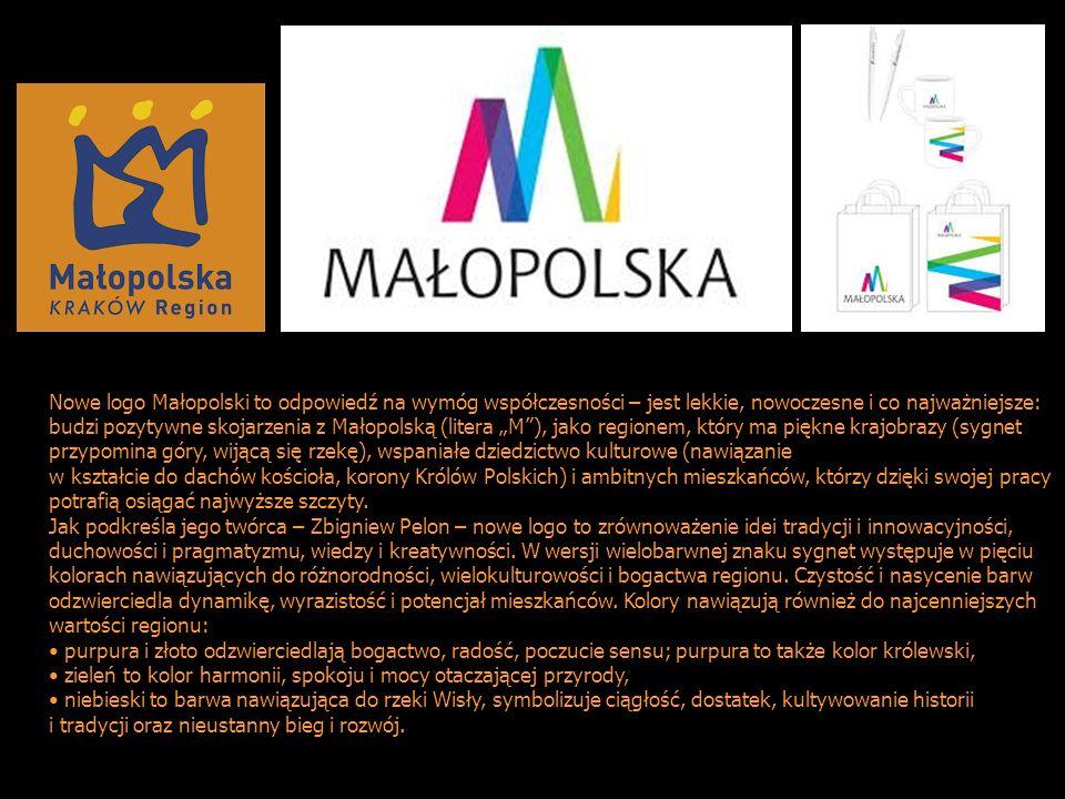 """Nowe logo Małopolski to odpowiedź na wymóg współczesności – jest lekkie, nowoczesne i co najważniejsze: budzi pozytywne skojarzenia z Małopolską (litera """"M ), jako regionem, który ma piękne krajobrazy (sygnet przypomina góry, wijącą się rzekę), wspaniałe dziedzictwo kulturowe (nawiązanie"""
