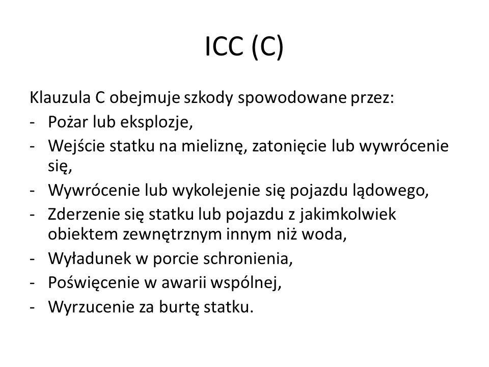 ICC (C) Klauzula C obejmuje szkody spowodowane przez: