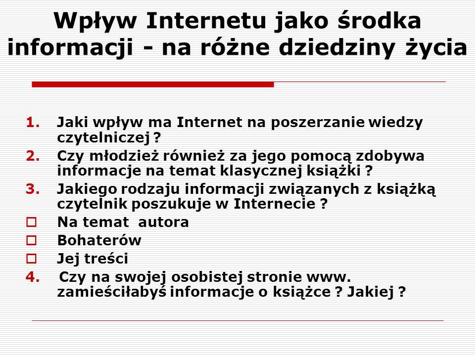 Wpływ Internetu jako środka informacji - na różne dziedziny życia