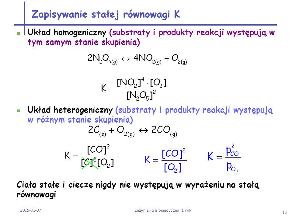 Zapisywanie stałej równowagi K