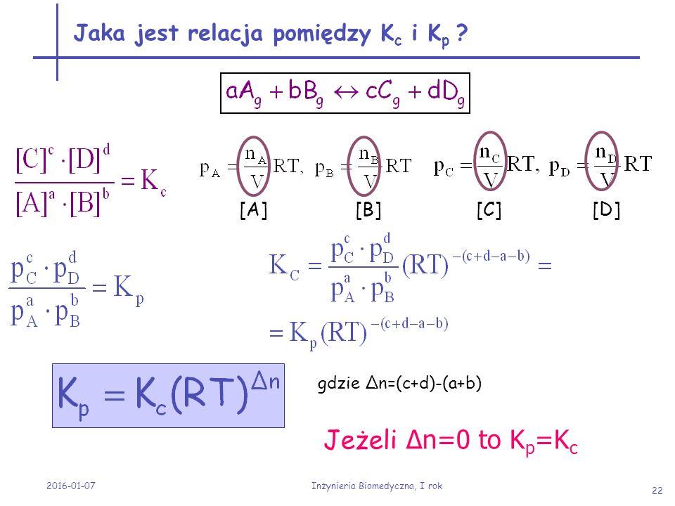 Jaka jest relacja pomiędzy Kc i Kp