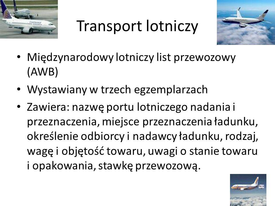Transport lotniczy Międzynarodowy lotniczy list przewozowy (AWB)