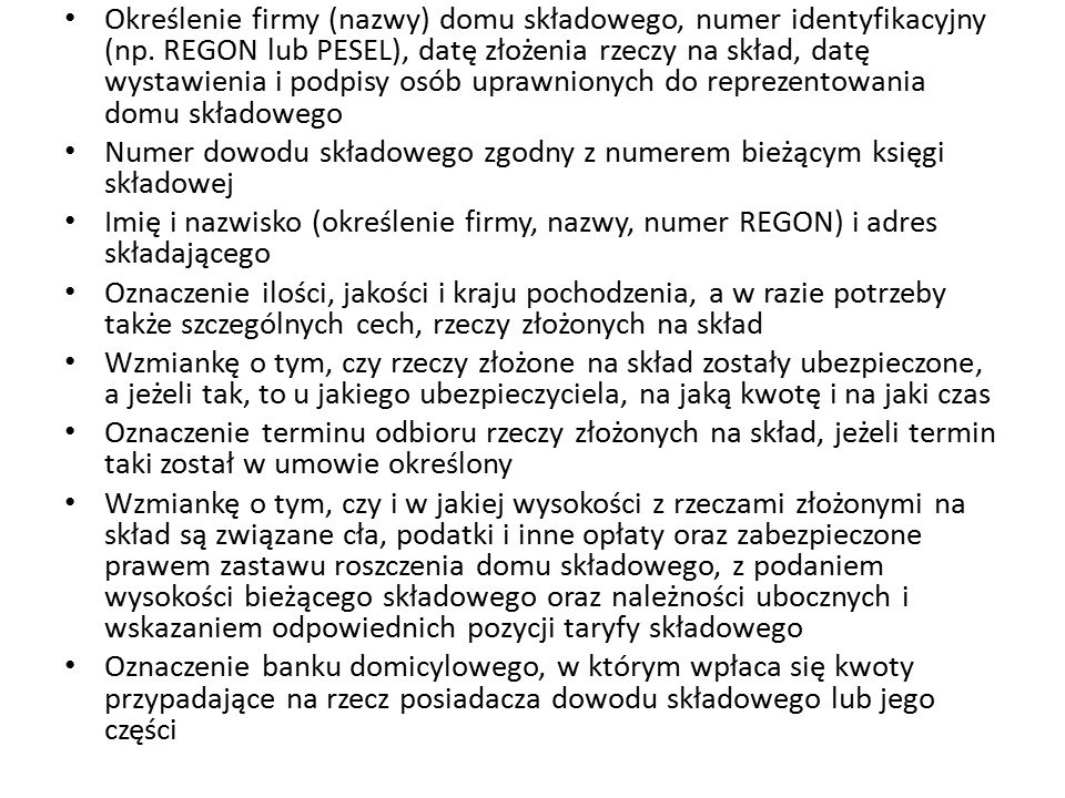 Określenie firmy (nazwy) domu składowego, numer identyfikacyjny (np