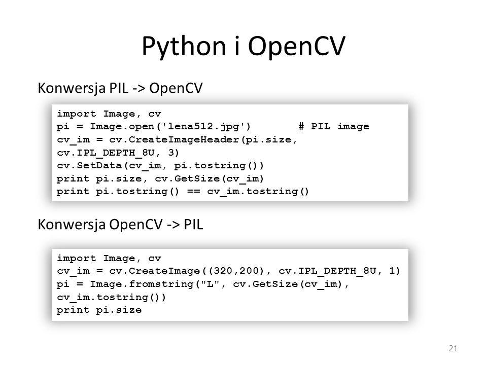 Python i OpenCV Konwersja PIL -> OpenCV Konwersja OpenCV -> PIL